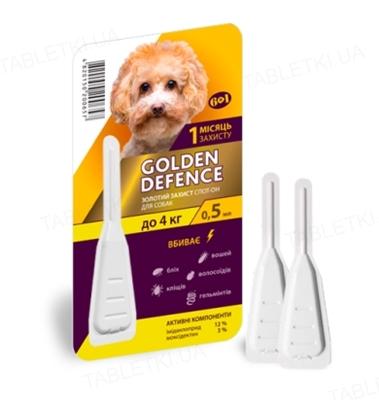 Капли на холку Palladium Golden Defence от паразитов для собак весом до 4 кг, 1 пипетка