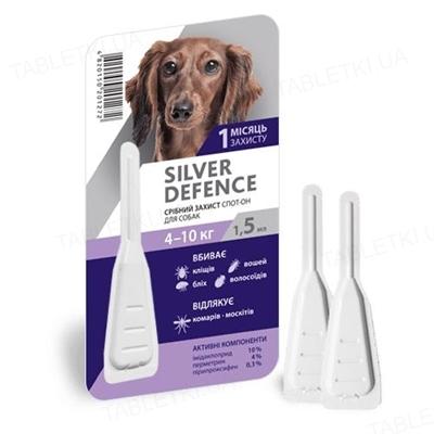 Капли на холку Palladium Silver Defence от паразитов для собак весом от 4 до 10 кг, 1 пипетка