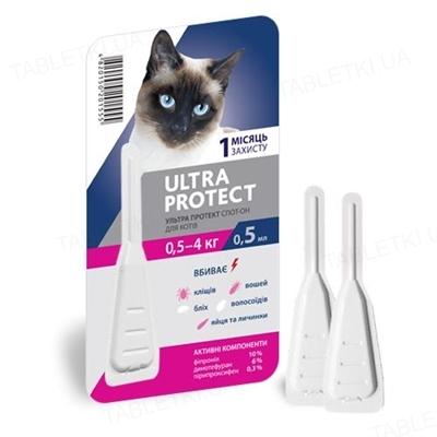 Капли на холку Palladium Ultra Protect от паразитов для кошек весом до 4 кг, 1 пипетка