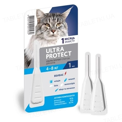 Капли на холку Palladium Ultra Protect от паразитов для кошек весом от 4 до 8 кг, 1 пипетка
