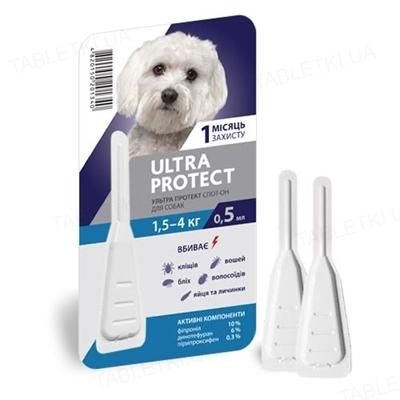Капли на холку Palladium Ultra Protect от паразитов для собак весом от 1,5 до 4 кг, 1 пипетка