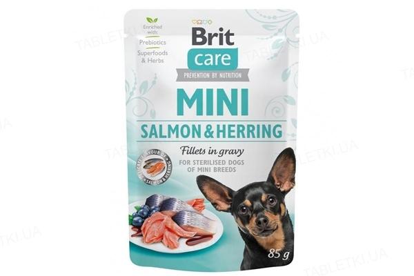 Корм влажный для собак Brit Care Mini филе лосося и сельди в соусе, 85 г