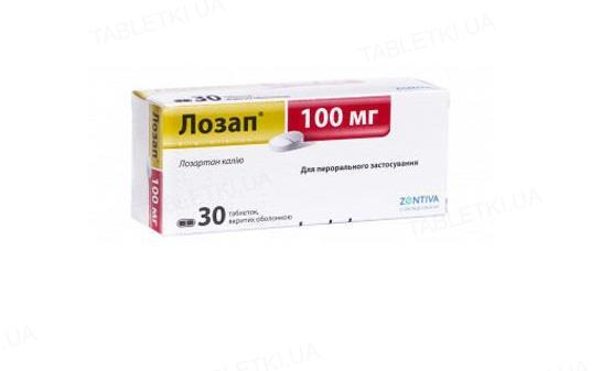 Лозап таблетки, п/о по 100 мг №30 (15х2)