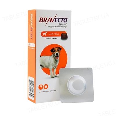 Бравекто (Bravecto) жевательная таблетка 250 мг от блох и клещей для собак 4,5 - 10 кг, 1 таблетка