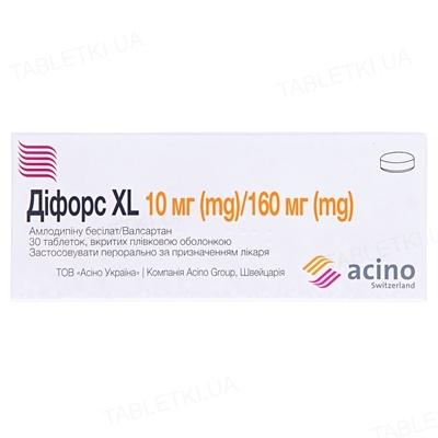 Дифорс XL таблетки, п/плен. обол. по 10 мг/160 мг №30 (10х3)