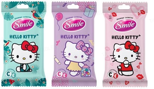 Салфетки влажные Smile Hello Kitty mix евро, 15 штук