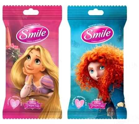 Салфетки влажные Smile Принцессы mix евро, 15 штук