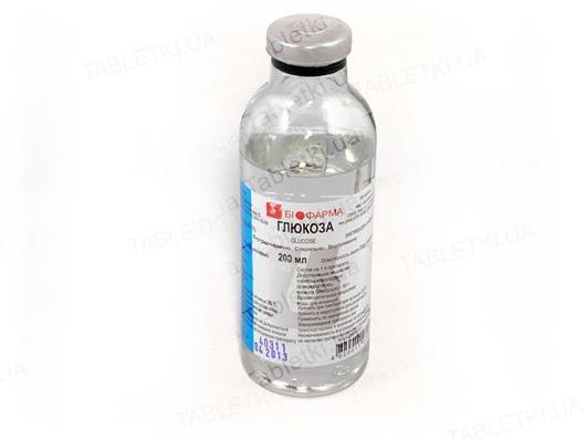 Глюкоза раствор д/инф. 5 % по 200 мл в бутыл.