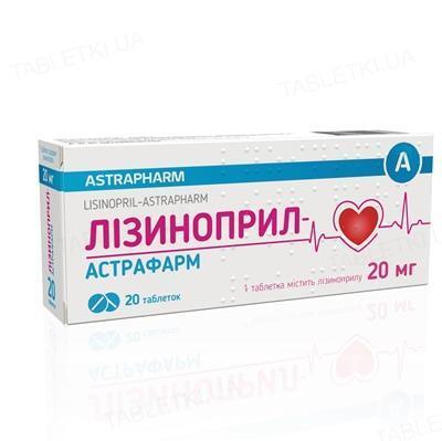 Лизиноприл-Астрафарм таблетки по 20 мг №20 (10х2)