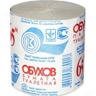 Туалетная бумага Обухов серая, 65 м рулон