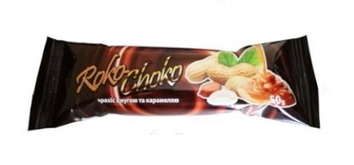 Батончик Roko-Choko арахис, нуга и карамель в кондитерской глазури, 50 г