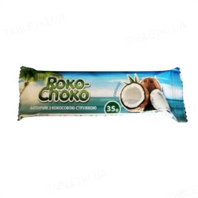 Батончик Roko-Choko с кокосовой стружкой в кондитерской глазури, 35 г