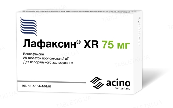 Лафаксин XR таблетки прол./д. по 75 мг №28 (14х2)