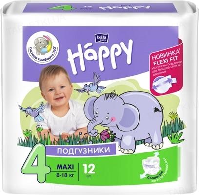 Подгузники детские Happy Bella Baby maxi, размер 4, вес 8-18 кг, 12 штук