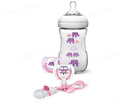 Подарочный набор для девочки Philips Avent,  Natural,  слоны 1 бутылочка 260 мл с картинкой, 2 пустышки 6-18 месяцев, клипса для пустышки