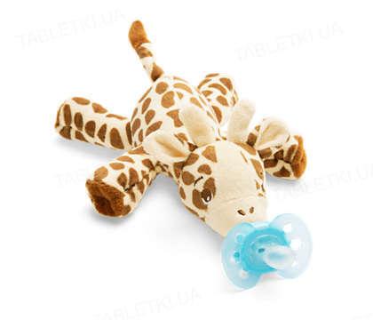 Пустышка силиконовая Philips Avent Ultra-soft ,1 штука + игрушка жираф 0-6 месяцев, 1 штука