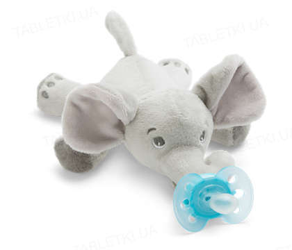 Пустышка силиконовая Philips Avent Ultra-soft, 1 штука + игрушка слоник 0-6 месяцев, 1 штука