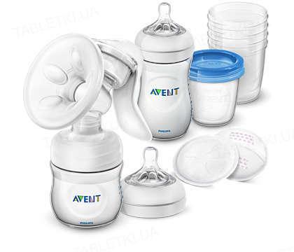 Ручний молоковідсмоктувач Philips Avent, Пляшка Natural, Аксесуари для зберігання молока, 2 нічні вкладиші в бюстгалтер, 2 денні вкладиші в бюстгалтер