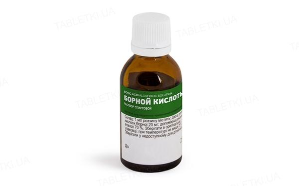 Борная кислота раствор д/наруж. прим., спирт. 2 % по 25 мл во флак.