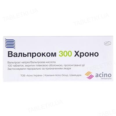 Вальпроком 300 хроно таблетки, в/плів. обол., прол./д. №100 (10х10)