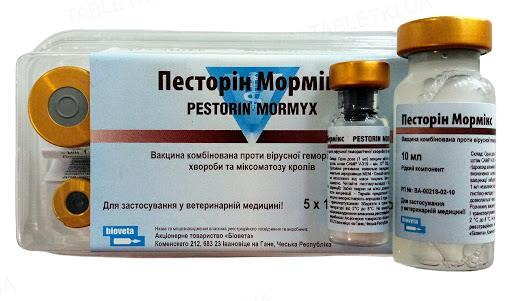 Песторин Мормикс вакцина против вирусной геморрагической болезни кроликов и миксоматоза по 10 доз №5 во флак.
