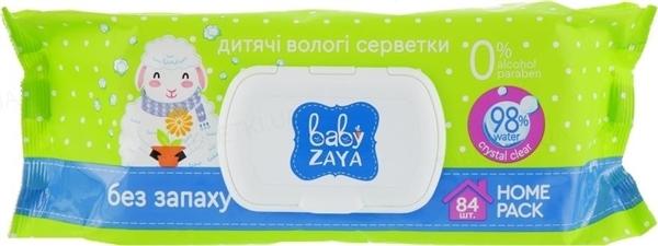 Салфетки влажные Baby Zaya без запаха, 84 штуки
