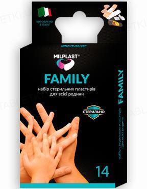 Набор пластырей бактерицидных Milplast FAMILY универсальных для всей семьи, 14 штук