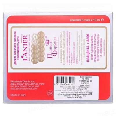 Лосьон Placen Formula Lanier против выпадения волос с плацентой и экстрактом алоэ, 6 ампул по 10 мл