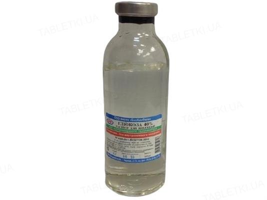 Глюкоза 40% (ДЛЯ ЖИВОТНЫХ) раствор для инъекций, 200 мл