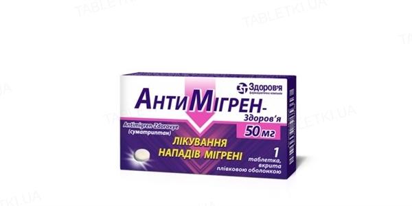 Антимигрен-Здоровье таблетки, п/плен. обол. по 50 мг №1