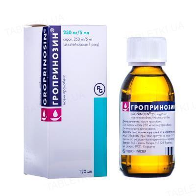 Гропринозин сироп 250 мг/5 мл по 120 мл во флак.