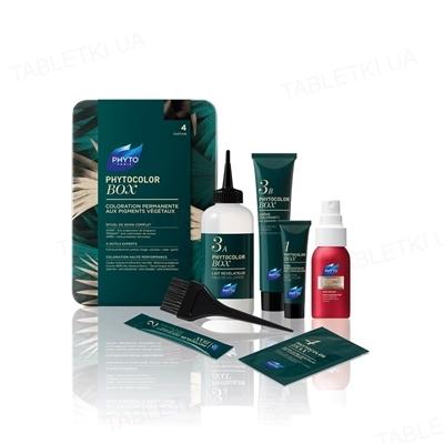 Краска для волос Phyto Phytocolor Box, стойкая, тон 4 шатен, 60 мл + 60мл