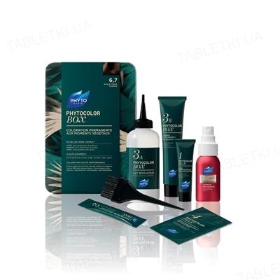 Краска для волос Phyto Phytocolor Box, стойкая, тон 6.7 темно-русый каштановый, 60 мл + 60 мл