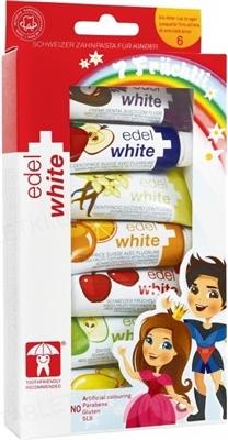 Зубная паста Edel White детская, 7 фруктов, 7 тюбиков по 9.4 мл