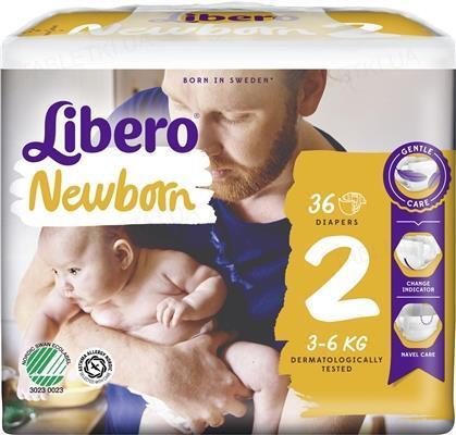Подгузники Libero New Born размер 2, 3-6кг, 36 штук