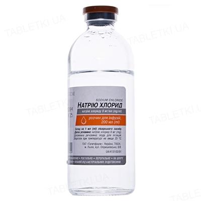 Натрия хлорид раствор д/инф. 9 мг/мл по 200 мл в бутыл.