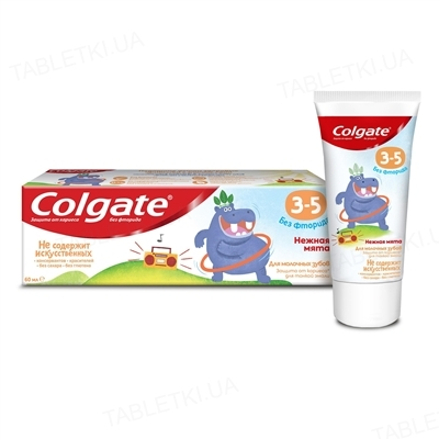 Зубная паста детская Colgate Нежная мята без фторида, с 3-х до 5-ти лет, 60 г