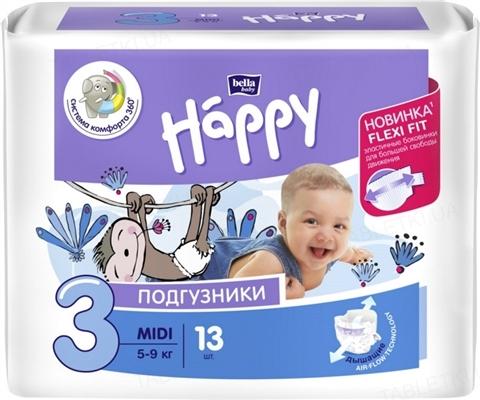 Подгузники детские Happy Bella Baby midi, размер 3, вес 5-9 кг, 13 штук