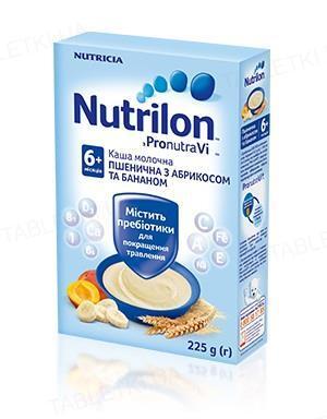 Молочная каша Nutrilon пшеничная с абрикосом и бананом для детей с 6 месяцев, 225 г