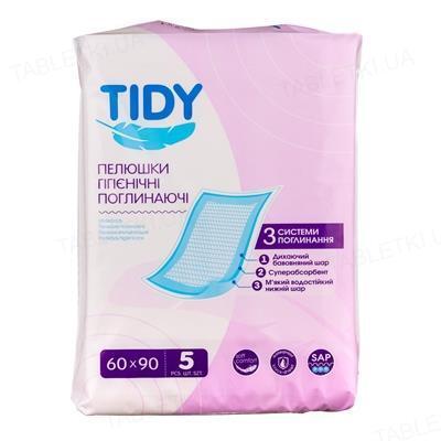 Пелюшки поглинаючі TIDY 60 x 90 см, 5 штук (СТМ)