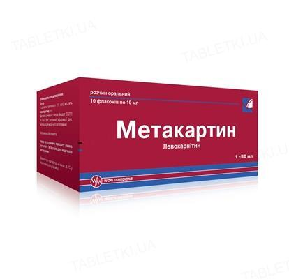 Метакартин раствор ор. 1 г/10 мл по 10 мл №10 во флак.