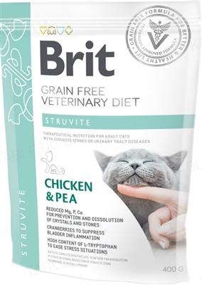 Корм сухой Brit VetDiets для взрослых кошек при струвитном типе МКБ с горохом и курицей, 400 г