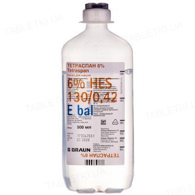 Тетраспан 6% раствор д/инф. по 500 мл №10 в конт.
