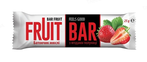 Батончик-мюсли Fruit Bar со вкусом клубники, 25 г