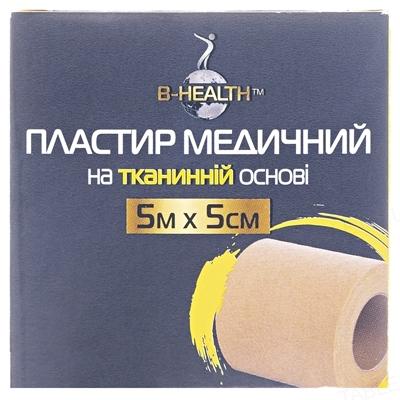 Пластырь медицинский B-Heаlth на тканевой основе, катушка, размер 5 м х 5 см