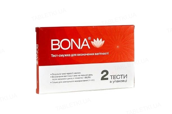 Тест-полоска Bona для определения беременности, 2 штуки