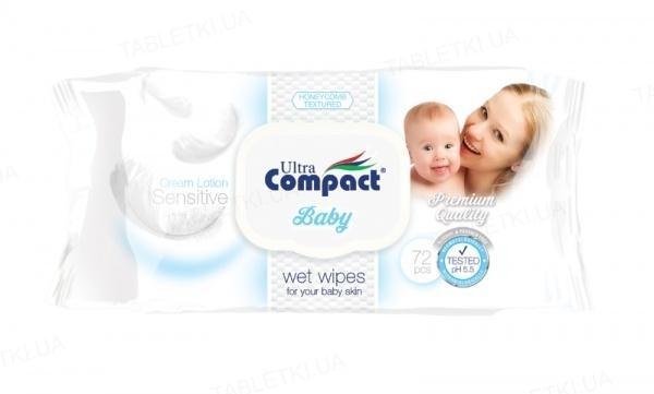 Серветки вологі Ultra Compact Sensitive дитячі, з клапаном, 72 штуки