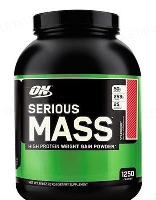 Гейнер Optimum Nutrition Serious Mass, клубника, 2,72 кг
