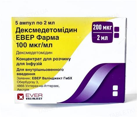 Дексмедетомідин Евер Фарма концентрат для р-ну д/інф. 100 мкг/мл по 2 мл №5 в амп.