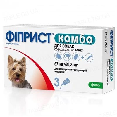 Фиприст Комбо капли от блох и клещей для собак от 2 до 10 кг, 1 пипетка